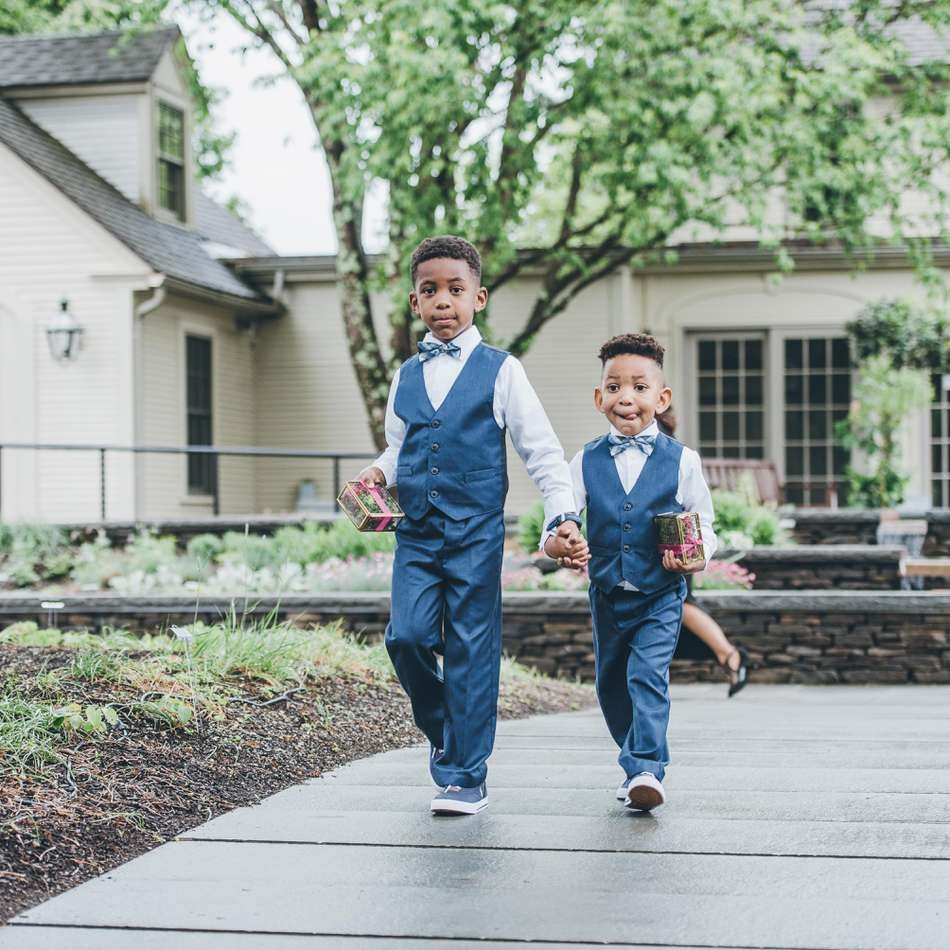 Two boys ring bearers in blue suits
