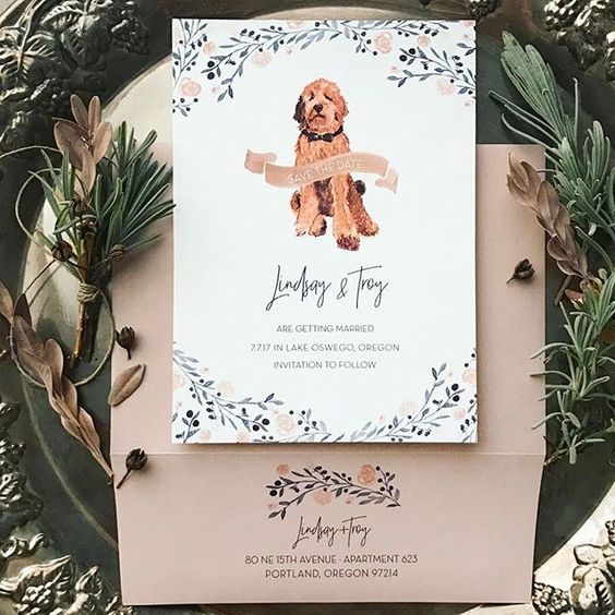 Watercolor wedding invitations with dog portrait and family crest