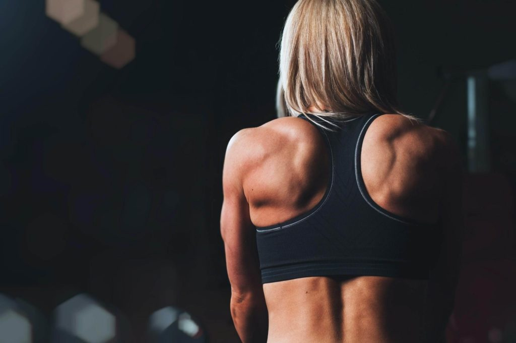 Women showing off her back