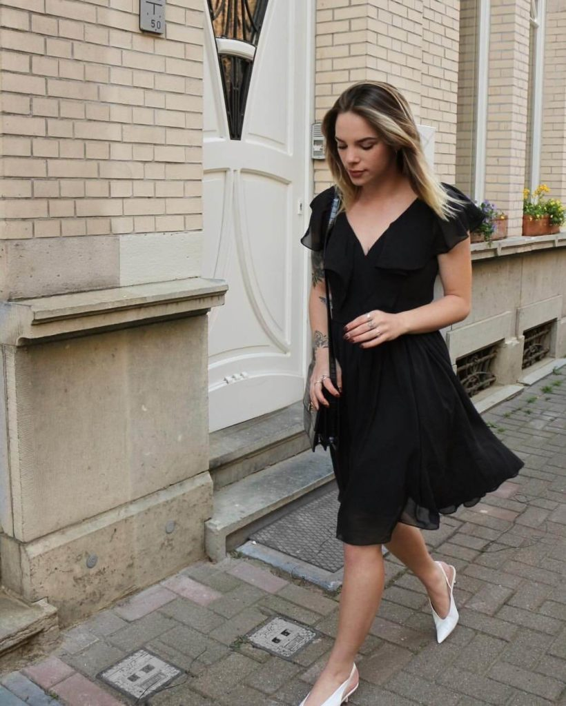 A Lady in V-neck Chiffon Dress Perfect for Office Look