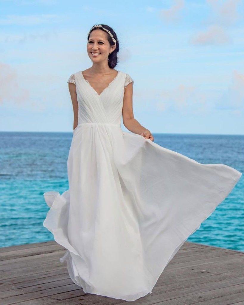 Casual Wedding Dresses - A-Line V-neck Floor-Length Chiffon Lace Wedding Dress With Ruffle