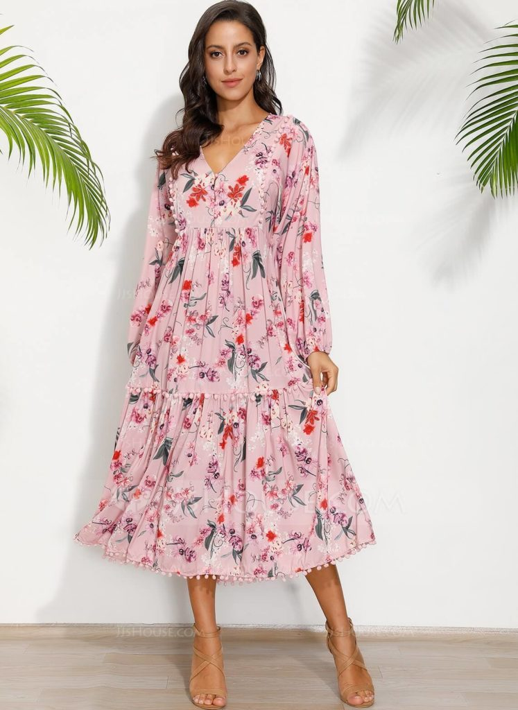 Floral pink boho dress for party