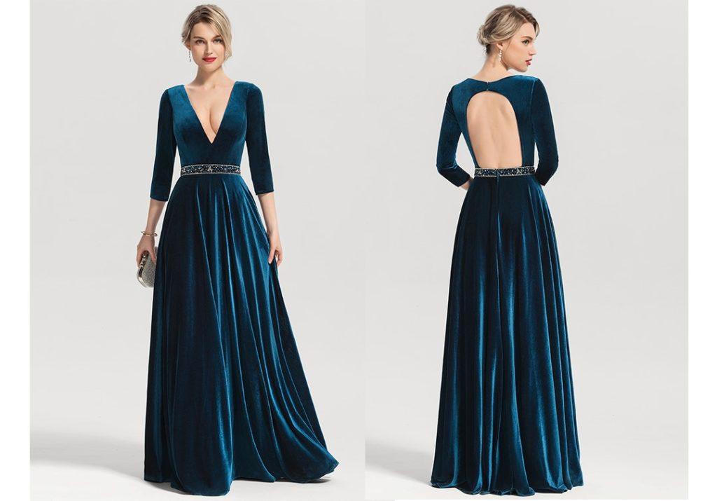 Ink Blue Velvet Dress - A-Line/Princess V-neck Floor-Length Velvet Evening Dress With Beading Sequins