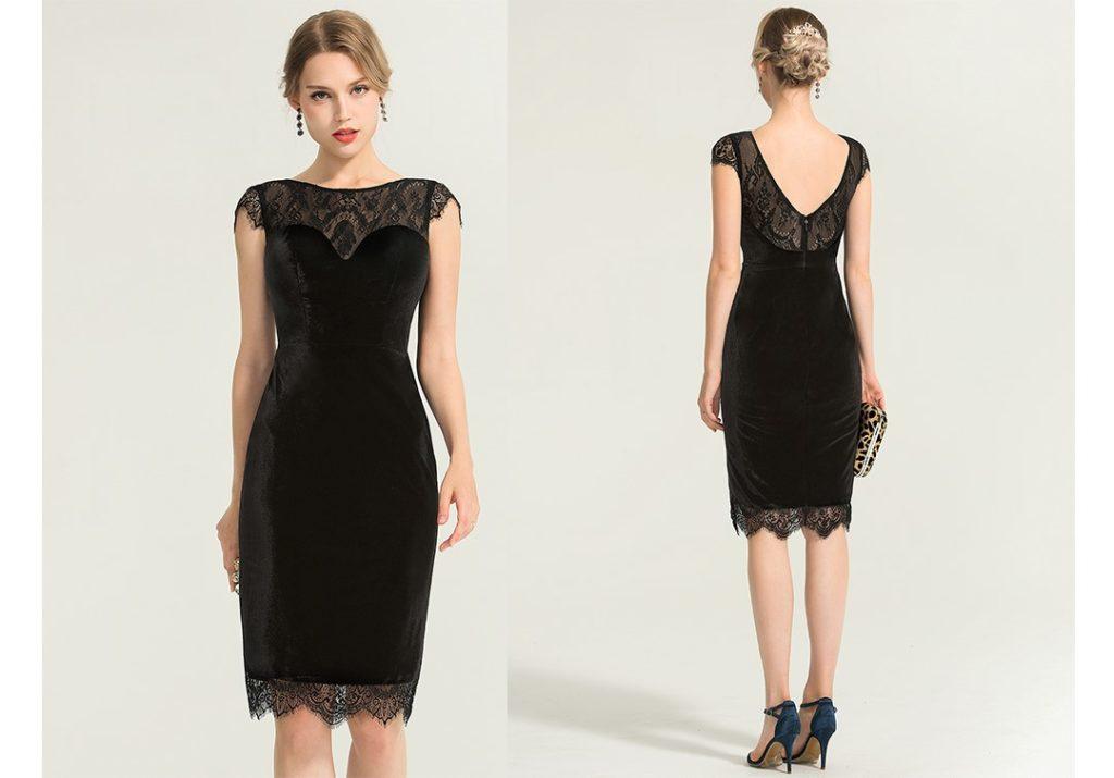 Little Black Dress - Sheath/Column Scoop Neck Knee-Length Velvet Cocktail Dress