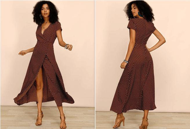 Polyester With PolkaDot/Slit Maxi Dress