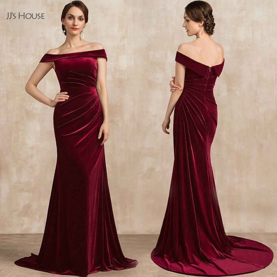 Red Velvet Dresses - Trumpet/Mermaid Off-the-Shoulder Sweep Train Velvet Mother of the Bride Dress With Ruffle