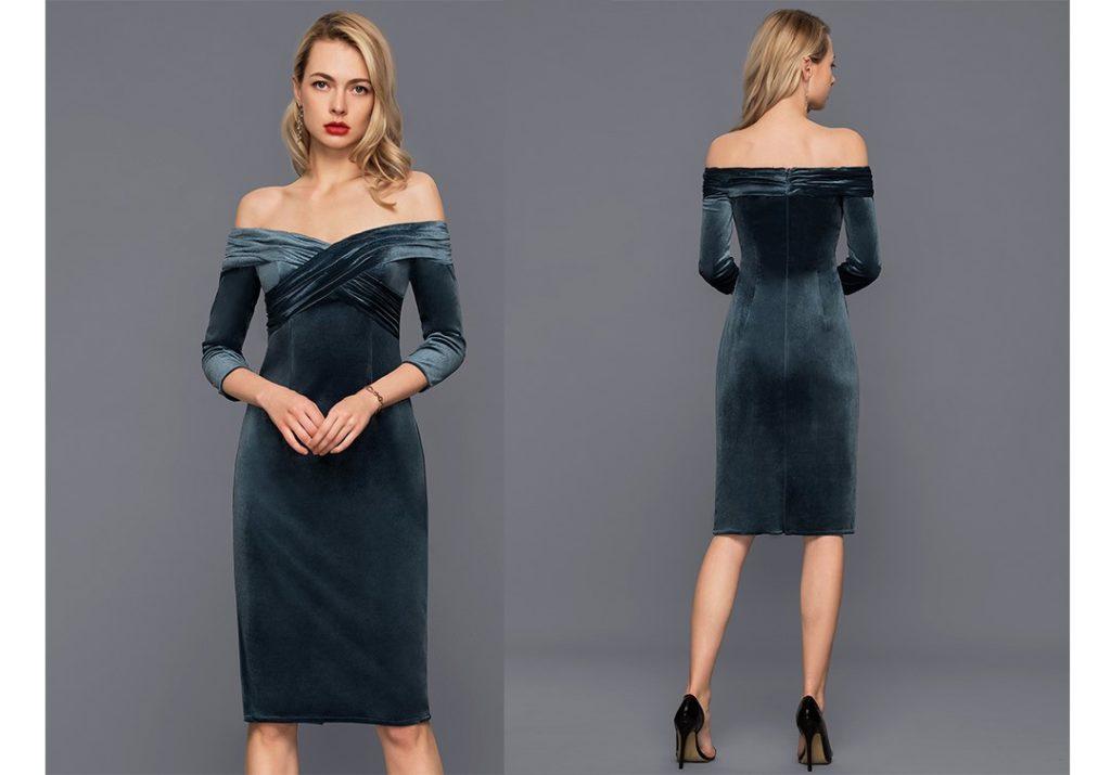 Sheath/Column Off-the-Shoulder Knee-Length Velvet Cocktail Dress With Ruffle
