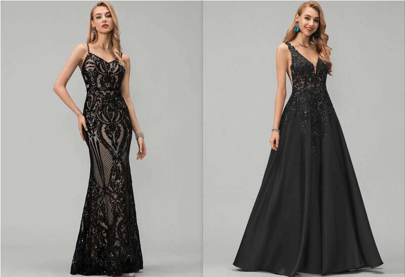Trumpet/Mermaid V-neck Floor-Length Sequined Prom Dresses & A-Line V-neck Floor-Length Satin Prom Dresses With Lace Sequins
