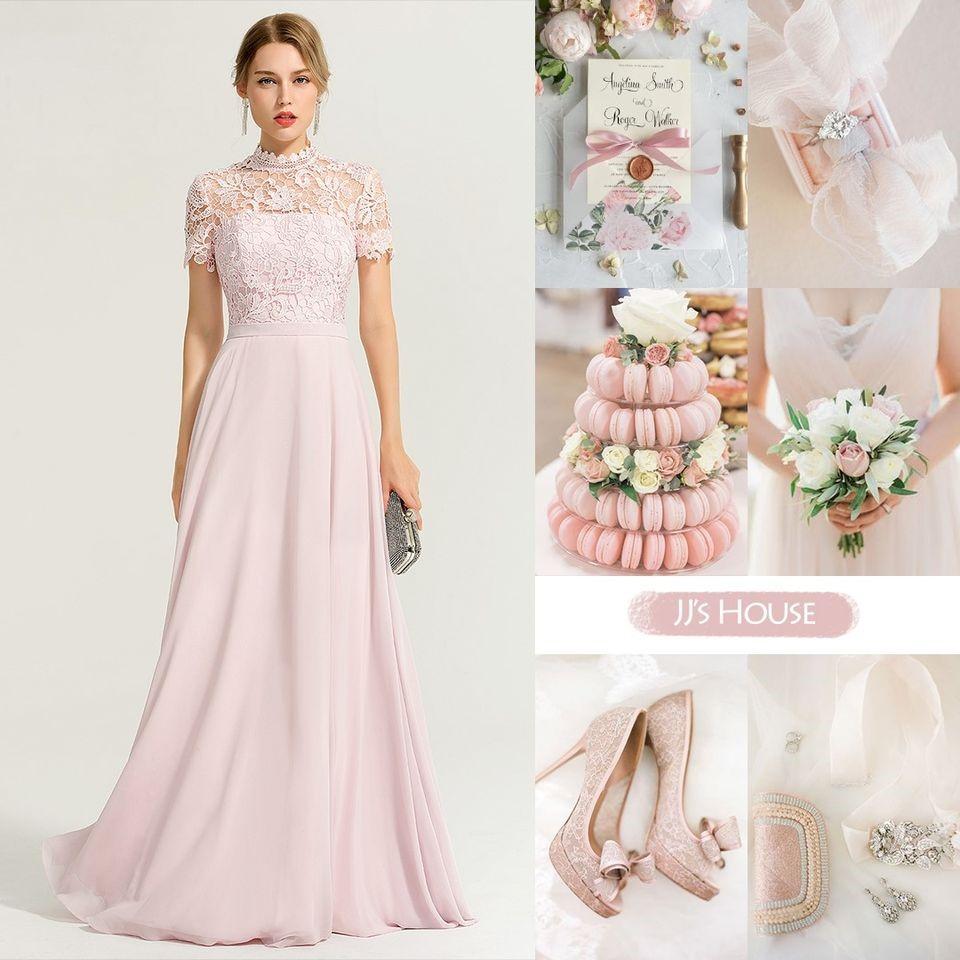 A-Line High Neck Floor-Length Chiffon Bridesmaid Dress