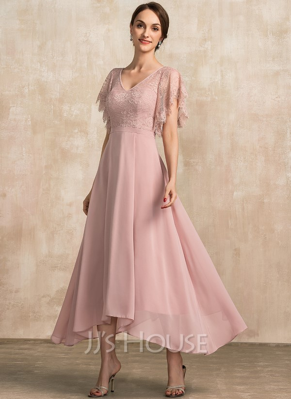 A-Line V-neck Ankle-Length Chiffon Lace Mother of the Bride Dress