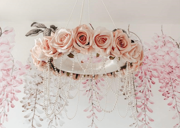 Chandelier made of artificial roses