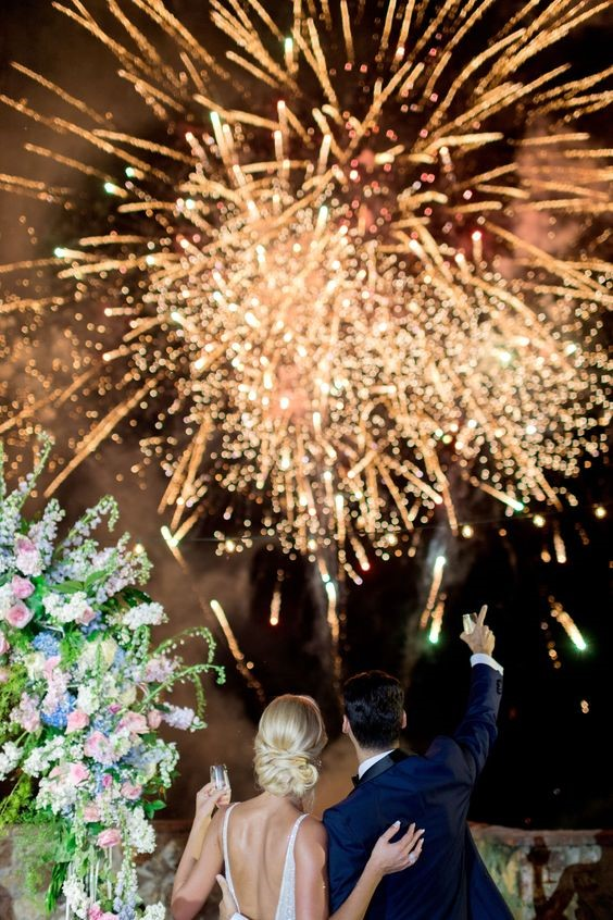 Ending Firework of a Romantic Wedding