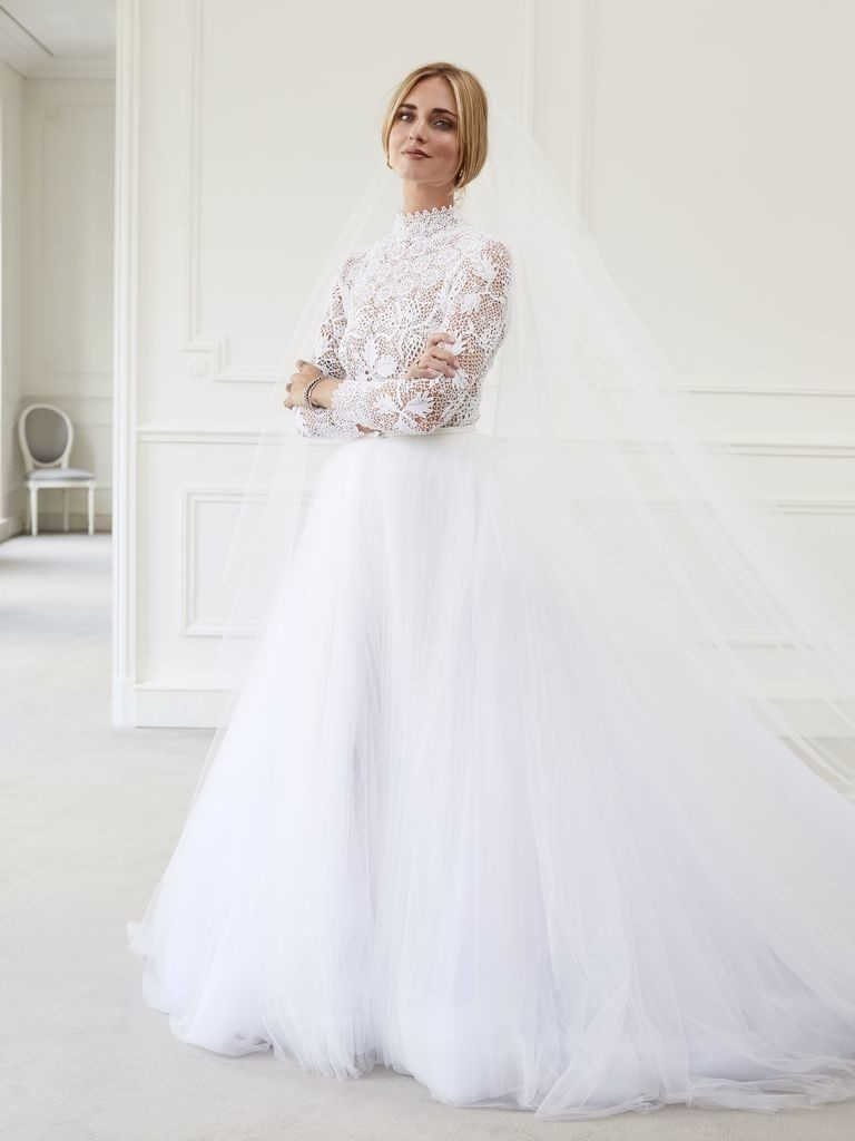 Fabulous Bridal Gown with Crochet Lace Romper as the Base and Wrap-Around Tulle Skirt