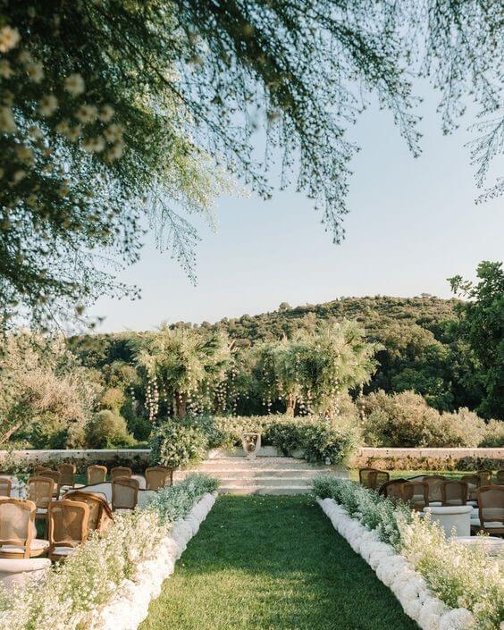 Ferragnez Wedding Venue Full of Greenery, Roses, and Hydrangeas