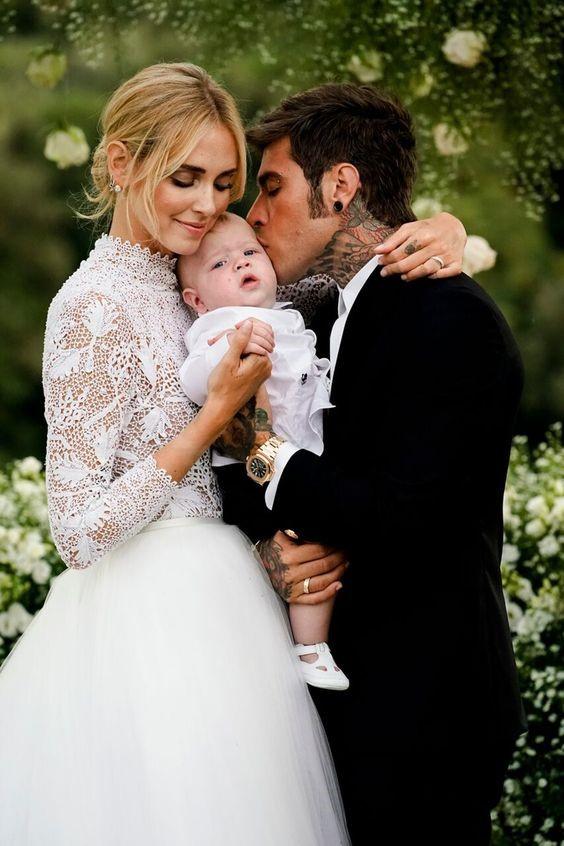 Ferragnez wedding photo with adorable Leone