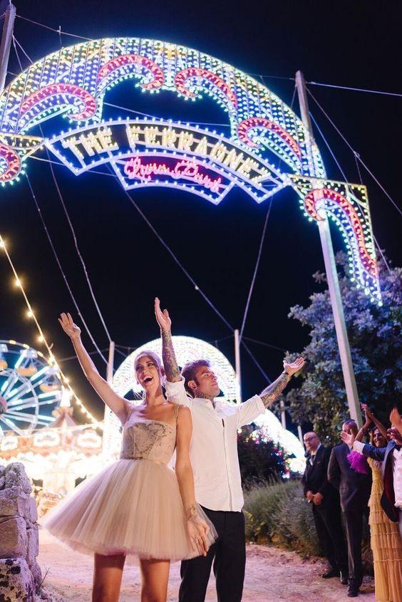 Final Bridal Attire Worn at Ferragnez Amusement Park and Concert