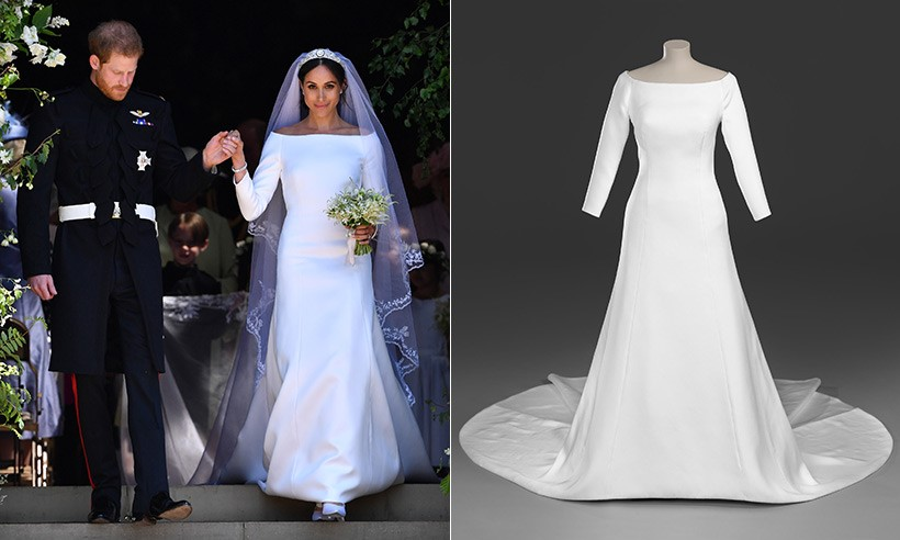 Meghan's Sleek and Unique Style with Bateau Neckline and Unembellished Wedding Gown