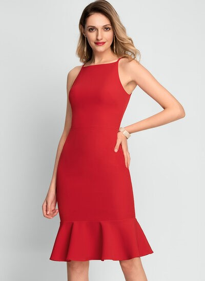 Square Neck Red Stretch Crepe Dresses