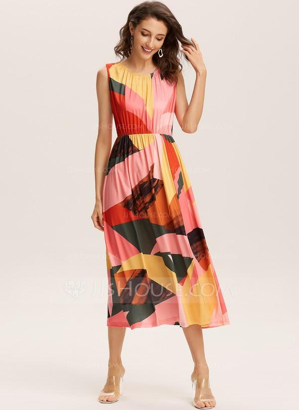 Timeless Prints - Round Neck Polyester Dresses (293250595)