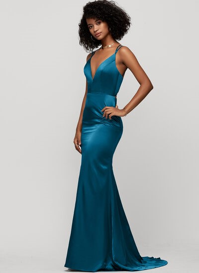 V-Neck Ink Blue silk like satin Dresses