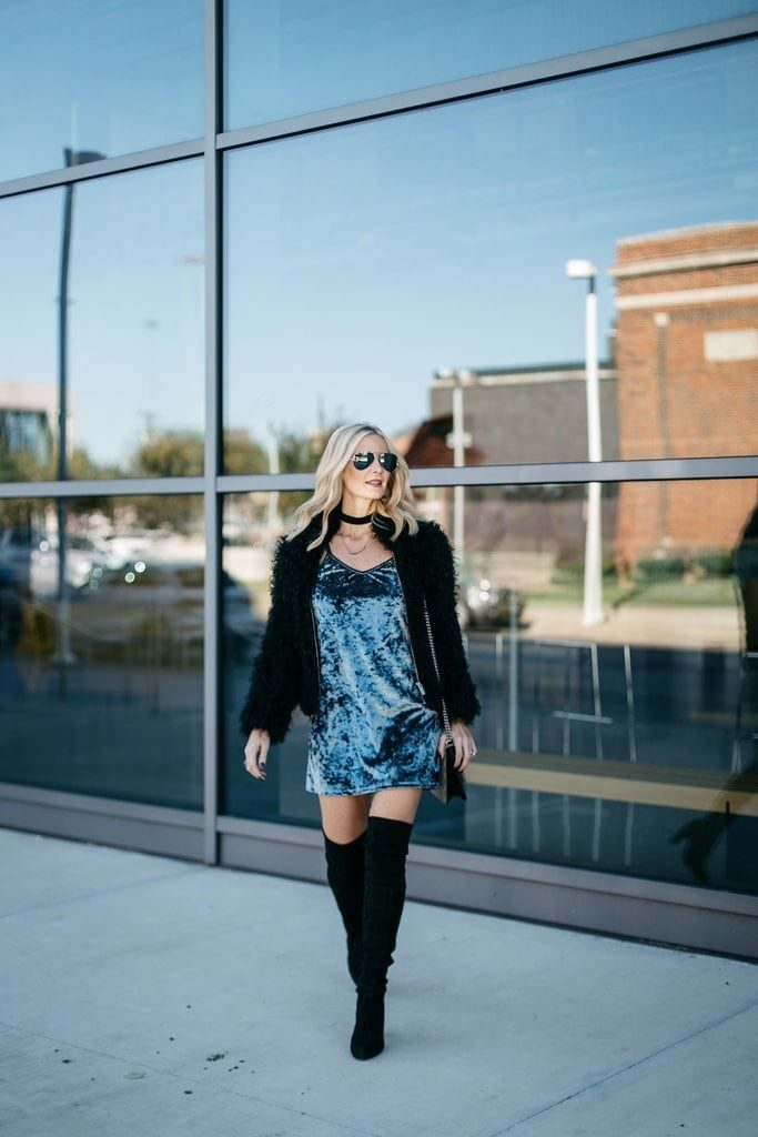 Velvet Touch - Mini Velvet Dress Matched with Black Furry Jacket, Handbag and Thigh-High Boots