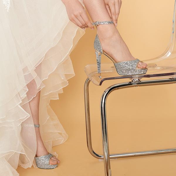 Women's Leatherette Stiletto Heel Peep Toe Pumps With Rhinestone Sequin
