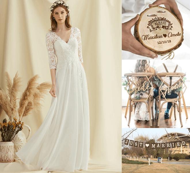 the gorgeous lace wedding dress, couple's rings, decor, etc
