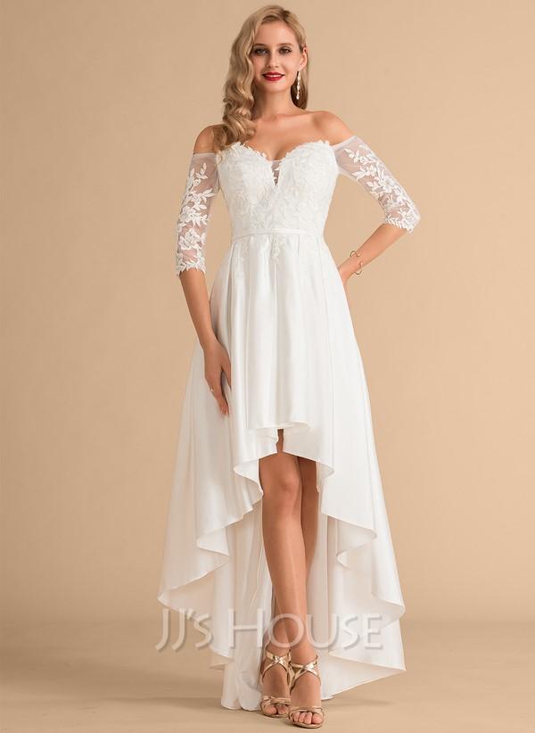 A-Line Off-the-Shoulder Asymmetrical Satin Lace Wedding Dress