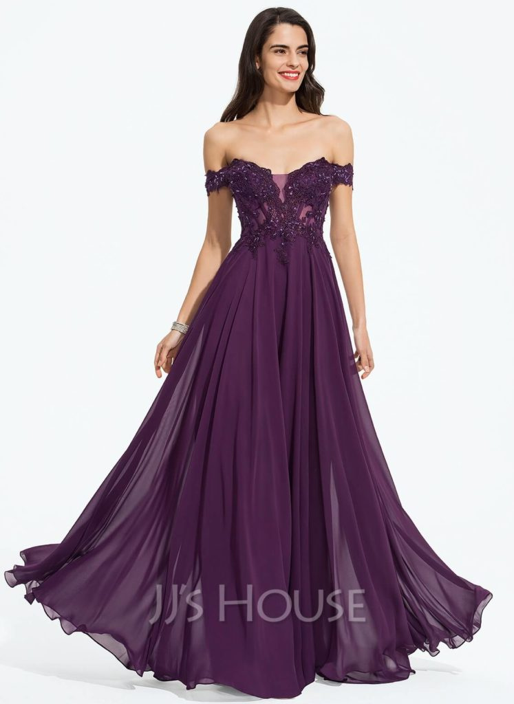 Deep-purple floor-length gown with the off-the-shoulder neckline