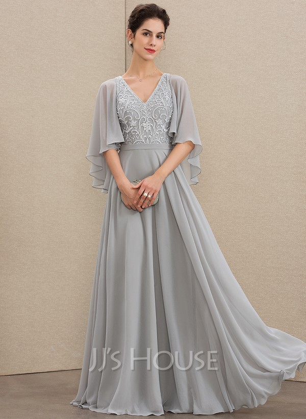 Grey V-neck dress with flowy sleeves