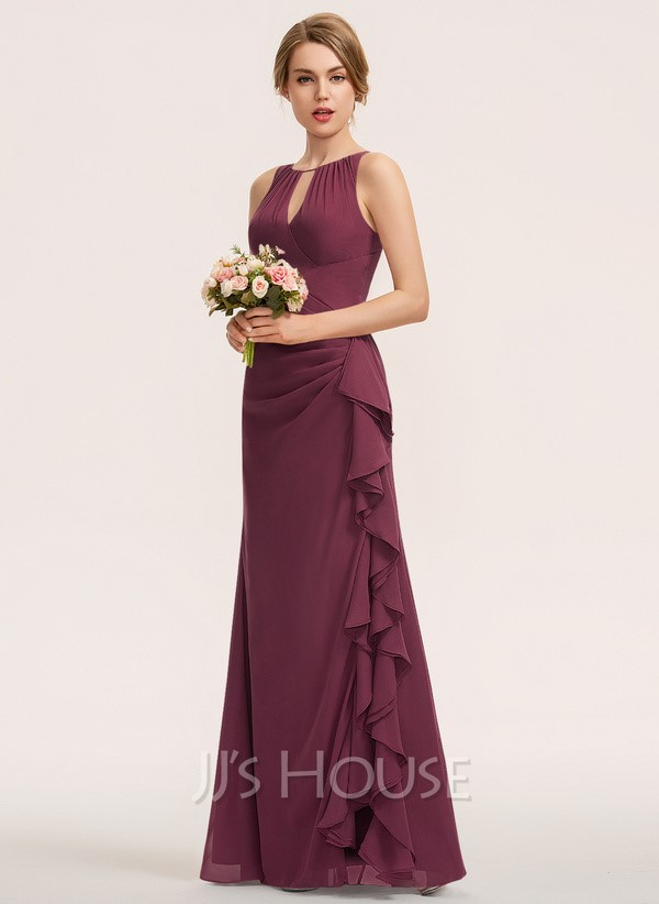 Mulberry ruffle dress with a halter neckline