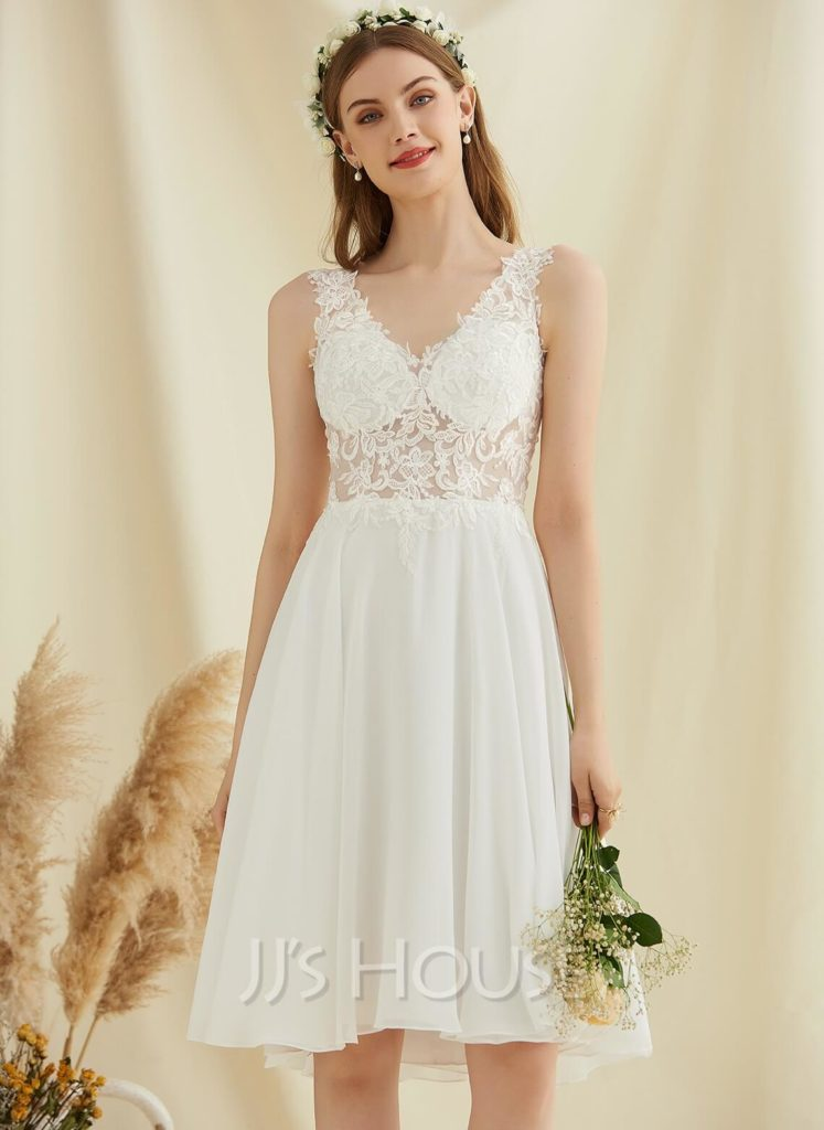 New A-Line V-neck Knee-Length Chiffon Lace Wedding Dress With Sequins