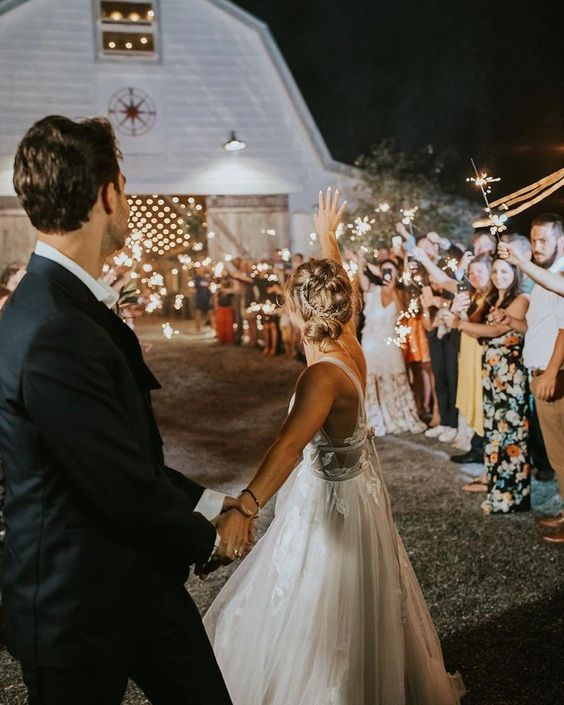 Romantic summer wedding with fireworks
