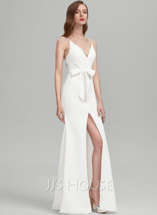 Sheath/Column V-neck Sweep Train Stretch Crepe Wedding Dress With Bow(s) Split Front