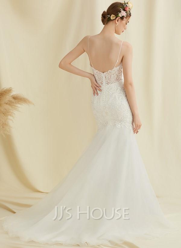 Trumpet/Mermaid Sweetheart Court Train Tulle Lace Wedding Dress