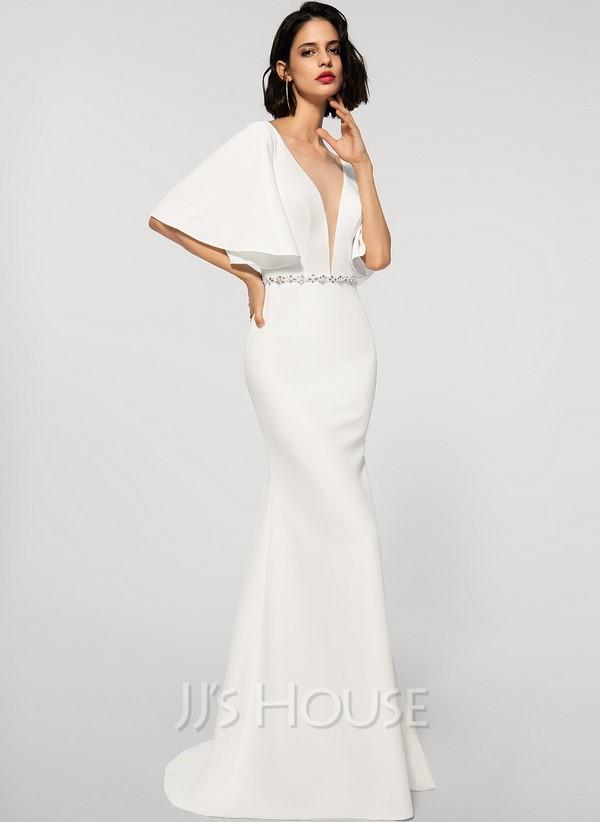 Trumpet/Mermaid V-neck Sweep Train Stretch Crepe Wedding Dress With Beading