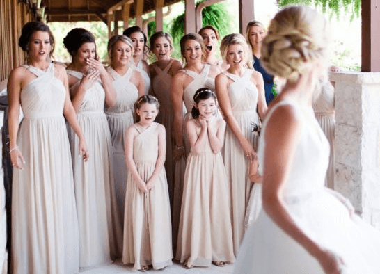 Bride with her bridesmaids and junior bridesmaids
