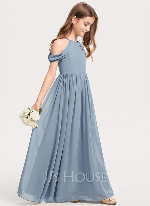 Dusty blue floor-length dress with cut-out shoulders