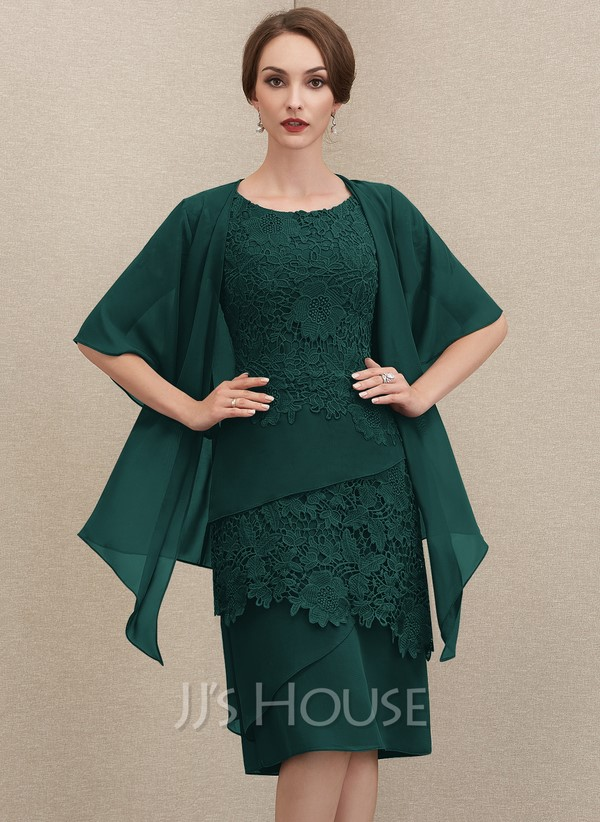 Emerald green ruffled dress with lace details