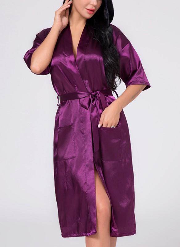 Jewel-toned silk bridesmaid robe