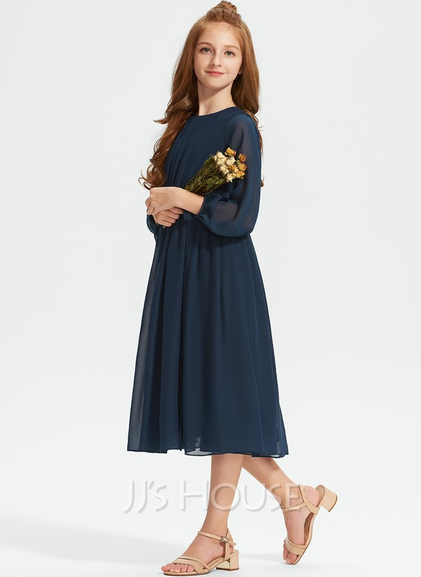 Navy blue knee-length junior bridesmaid dress