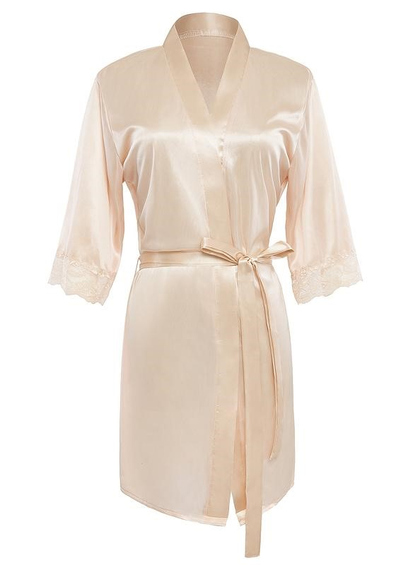 Peachy satin bridesmaid robe