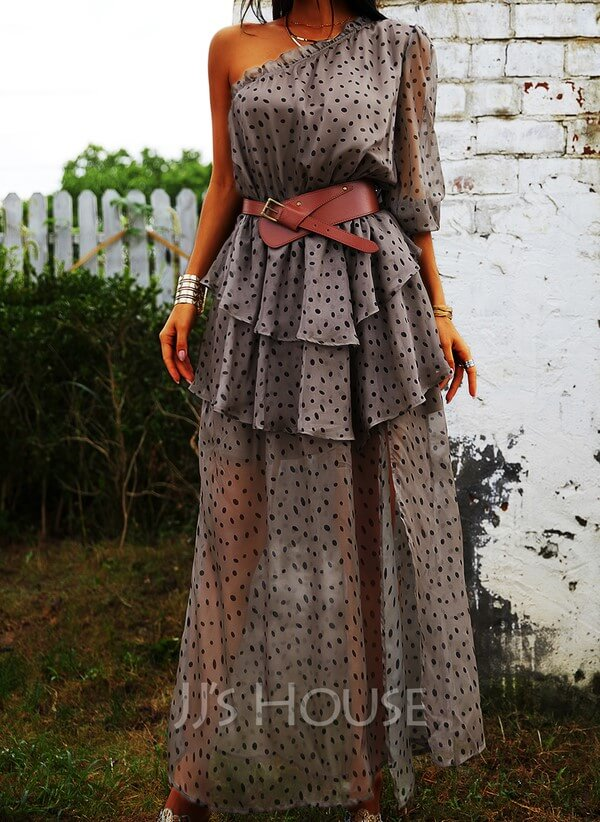 Polka dot ruffled dress with brown leather belt