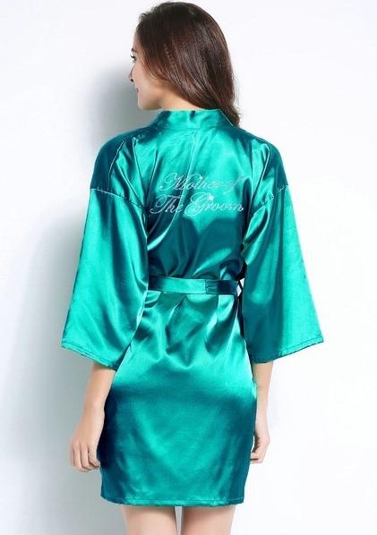 Ruffled bridesmaid robe in emerald green