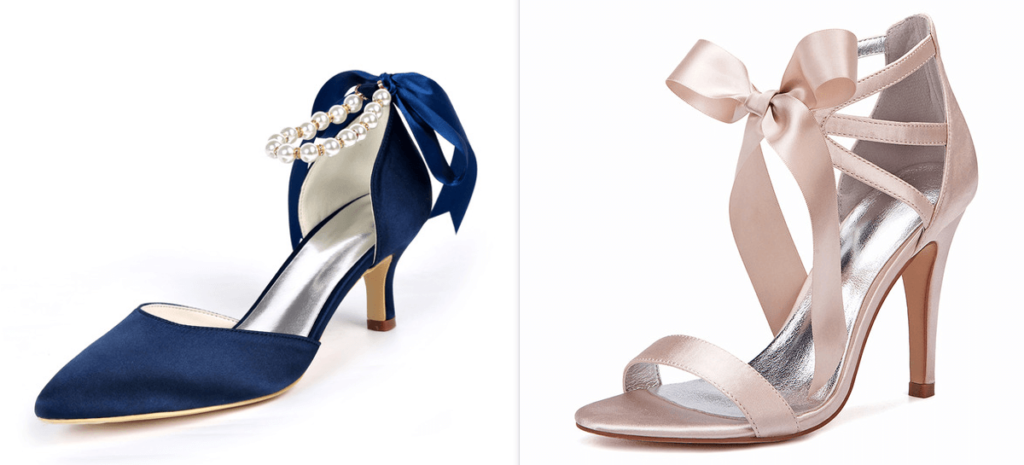 Satin-like pumps & strappy sandals