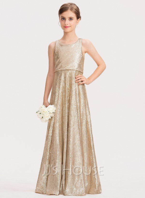 Sequined gold junior bridesmaid dress