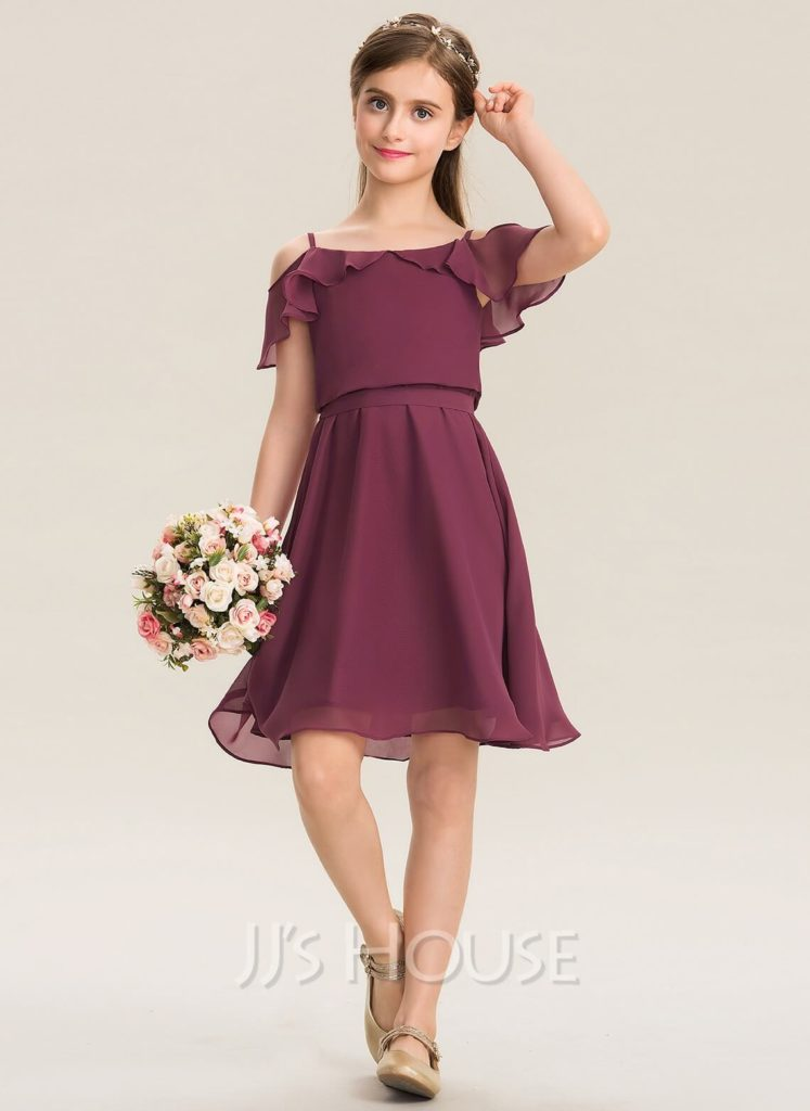 Short ruffled junior bridesmaid dress