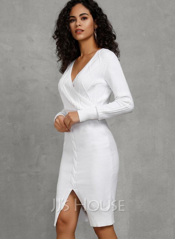 Solid V-Neck Long Sleeves Dresses