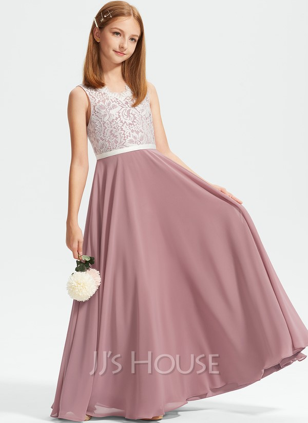 Two-toned junior bridesmaid dress with lace bodice