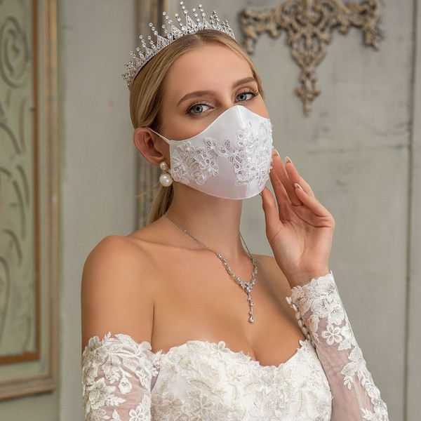 Embroidered satin mask for brides